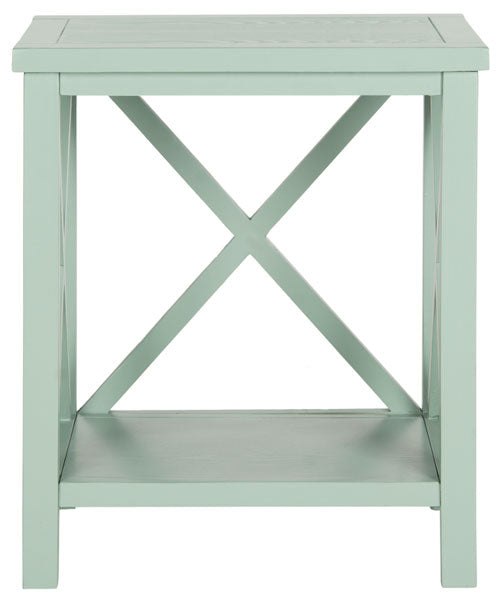 Safavieh Candence End Table Cross Back Dusty Green Wood NC Coating Pine AMH6523E 683726708490