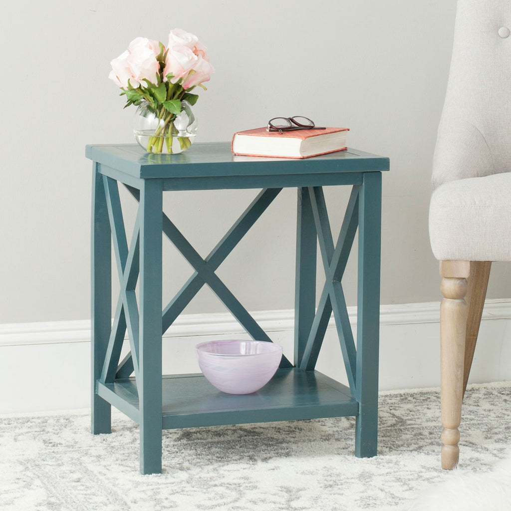 Safavieh Candence End Table Cross Back Slate Teal Wood NC Coating Pine AMH6523F 683726708506