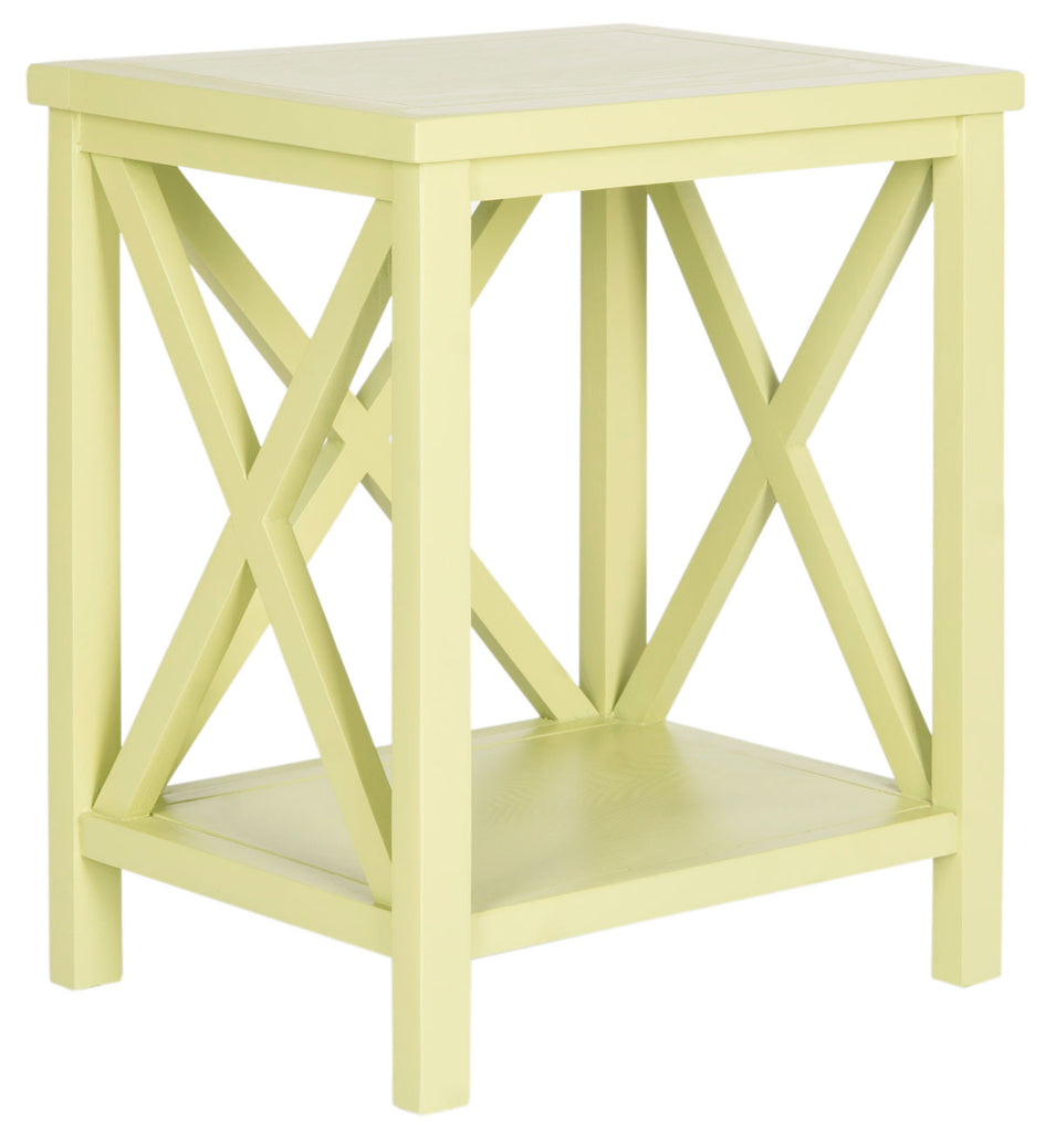 Safavieh Candence End Table Cross Back Split Pea Wood NC Coating Pine AMH6523H 683726708520