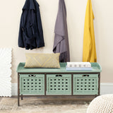 Safavieh Isaac Bench 3 Drawer Wooden Storage Dusty Green Wood NC Coating MDF Pine CA Foam AMH6530B 683726708537