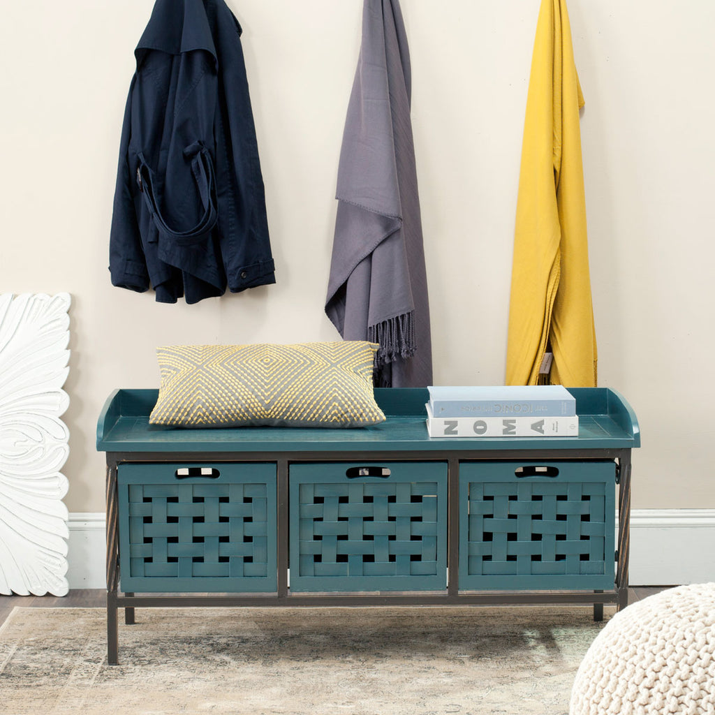 Safavieh Isaac Bench 3 Drawer Wooden Storage Slate Teal Wood NC Coating MDF Pine CA Foam AMH6530C 683726708544