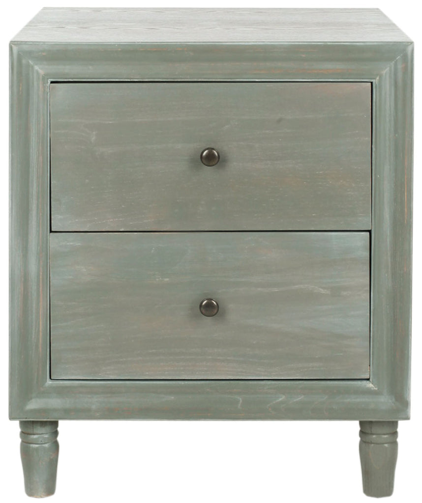 Safavieh Blaise Accent Table Storage Drawer French Grey Wood NC Coating Elm ZiNC Alloy AMH6605B 683726141242