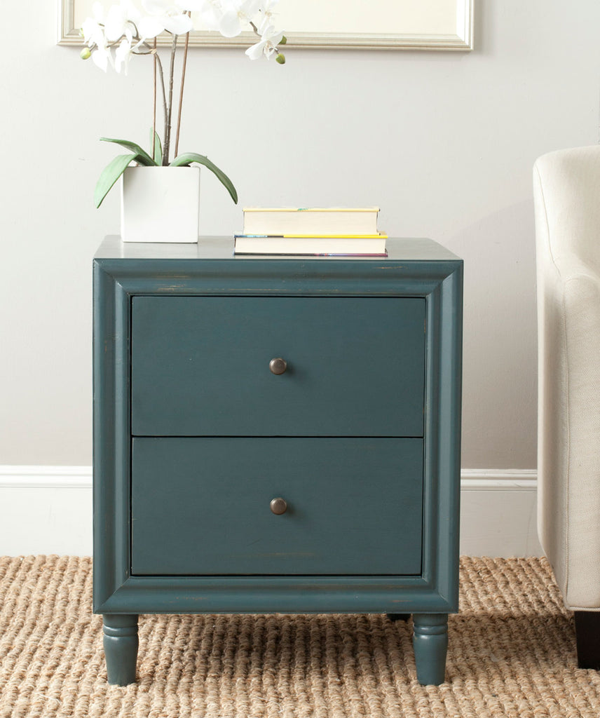Safavieh Blaise Accent Table Storage Drawer Steel Teal Wood NC Coating Pine ZiNC Alloy AMH6605C 683726141259