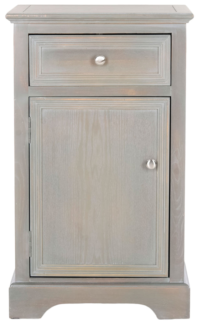 Safavieh Jarome Storage End Table Drawer and Door French Grey Wood NC Coating Elm ZiNC Alloy AMH6627A 683726252078