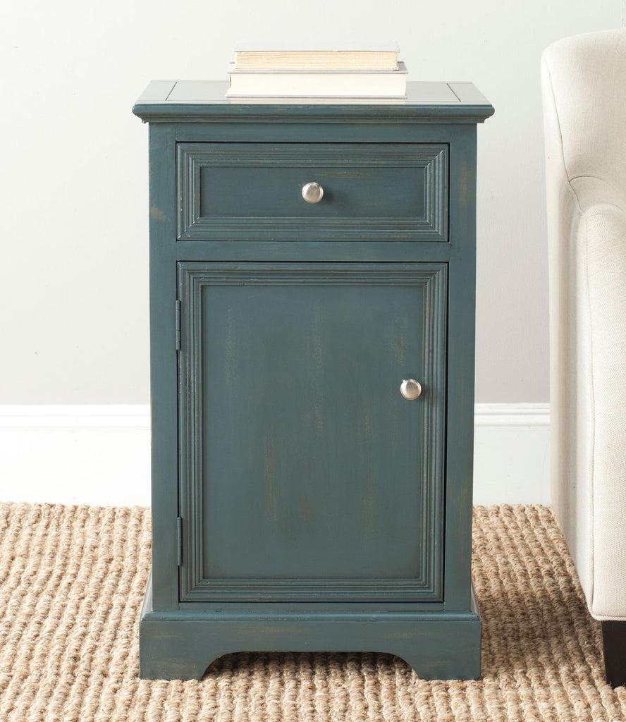 Safavieh Jarome Storage End Table Drawer and Door Steel Teal Wood NC Coating Pine ZiNC Alloy AMH6627B 683726252580