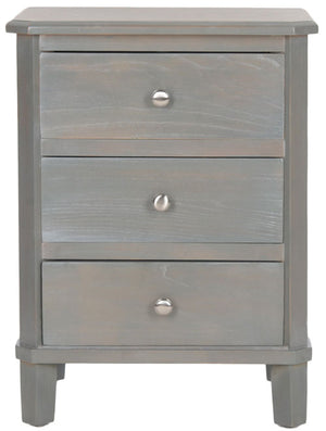 Safavieh Joe End Table Storage Drawers French Grey Wood NC Coating Elm ZiNC Alloy AMH6629A 683726255406