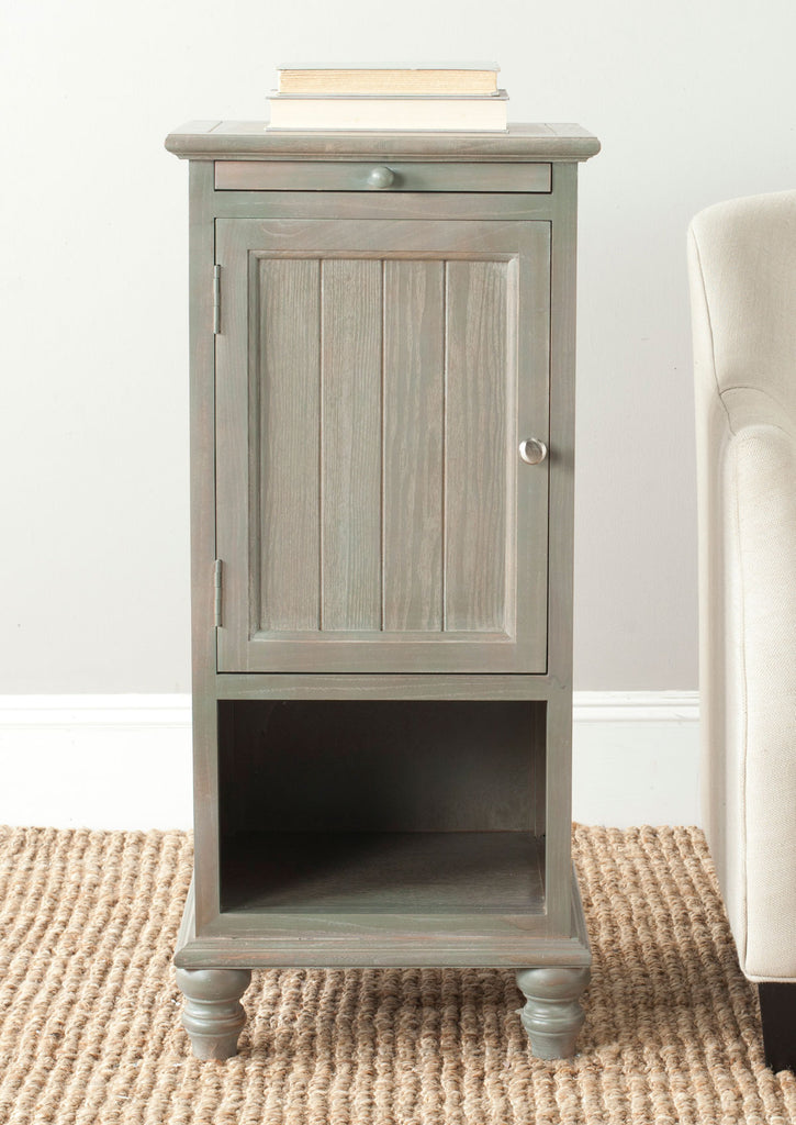 Safavieh Jezabel One Cabinet End Table Pull Out Tray French Grey Wood NC Coating Elm ZiNC Alloy AMH6633A 683726261827