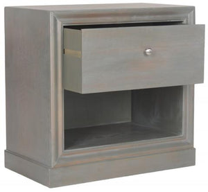 Safavieh Cain End Table Wood One Drawer French Grey NC Coating Elm ZiNC Alloy AMH6635A 683726262992