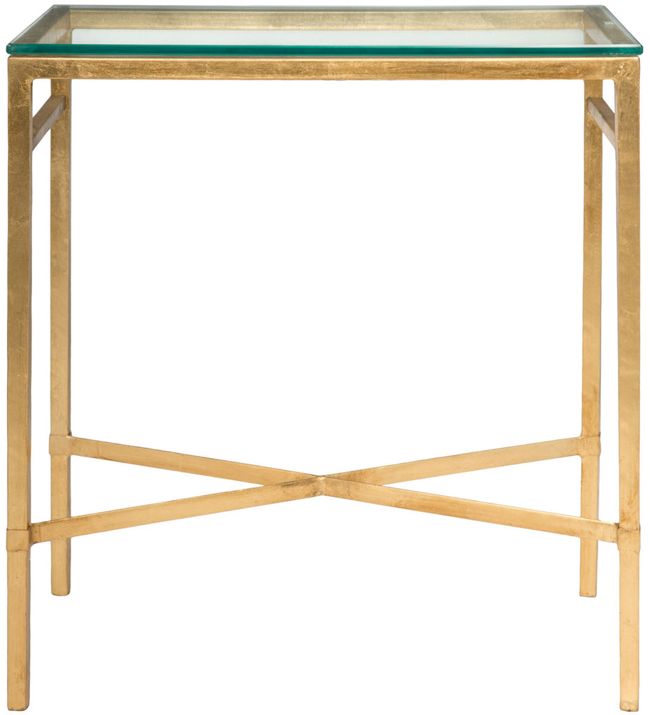 Safavieh Viggo Side Table Tempered Glass Antique Gold Metal Couture AMH8300A 683726742678