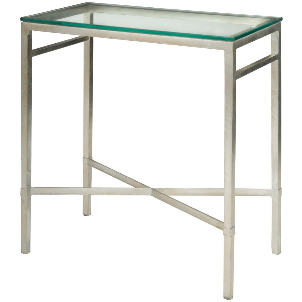 Safavieh Viggo Side Table Tempered Glass Antique Silver Metal Couture AMH8300B 683726742746