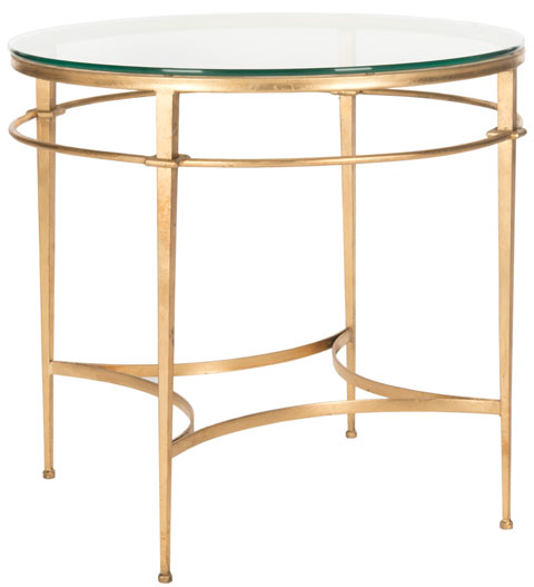 Safavieh Ingmar Side Table Round Tempered Glass Antique Gold Metal Couture AMH8301A 683726742814