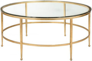 Safavieh Edmund Cocktail Table Tempered Glass Antique Gold Metal Couture AMH8304A 683726743149