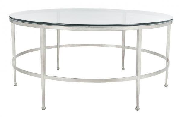 Safavieh Edmund Cocktail Table Tempered Glass Antique Silver Metal Couture AMH8304B 889048341524