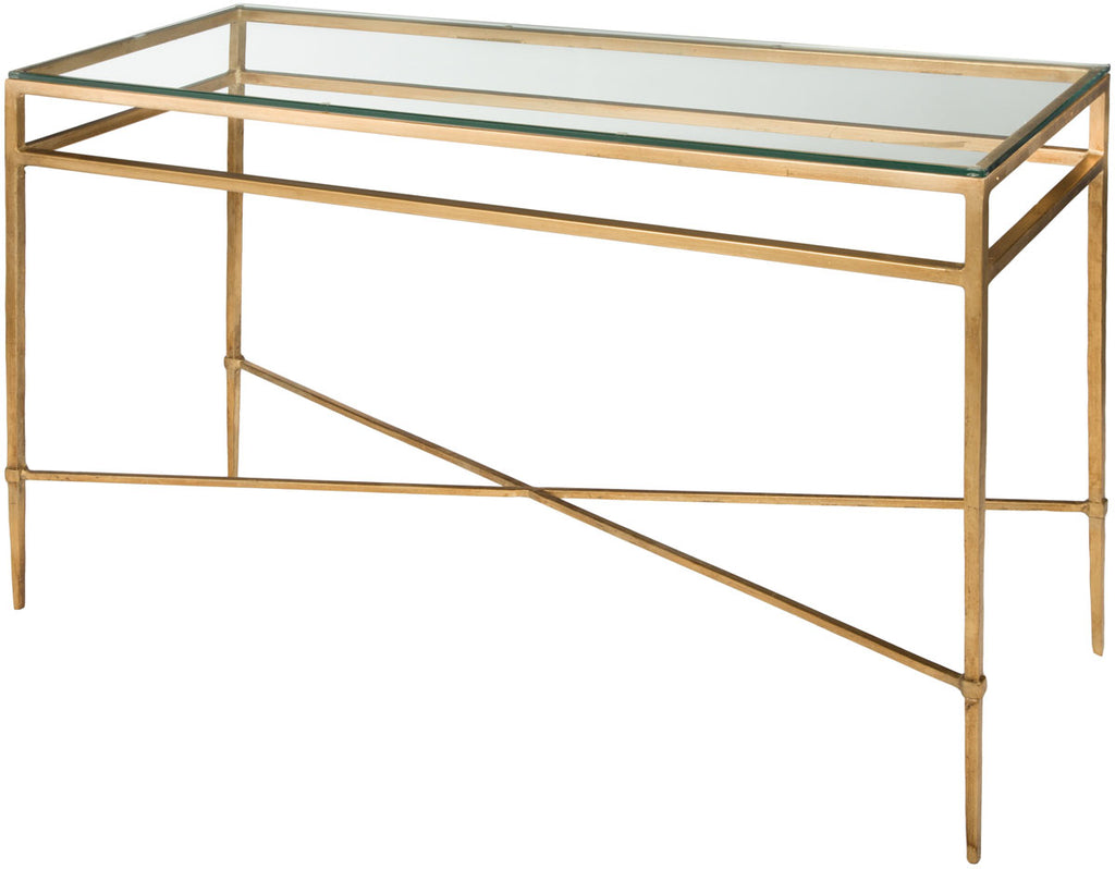 Safavieh Baumgarten Console Table Tempered Glass Antique Gold Metal Couture AMH8305A 683726743170