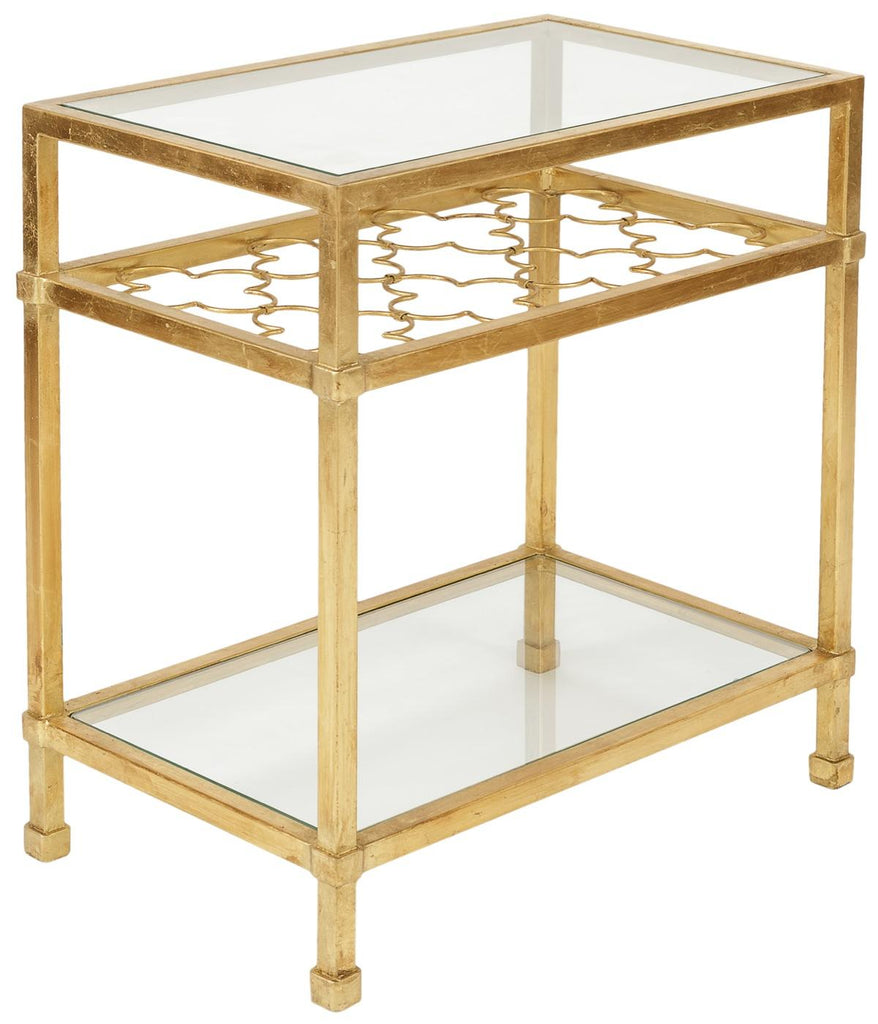 Safavieh Hanzel Side Table Glass Gold Metal Iron Couture AMH8312A 889048099432