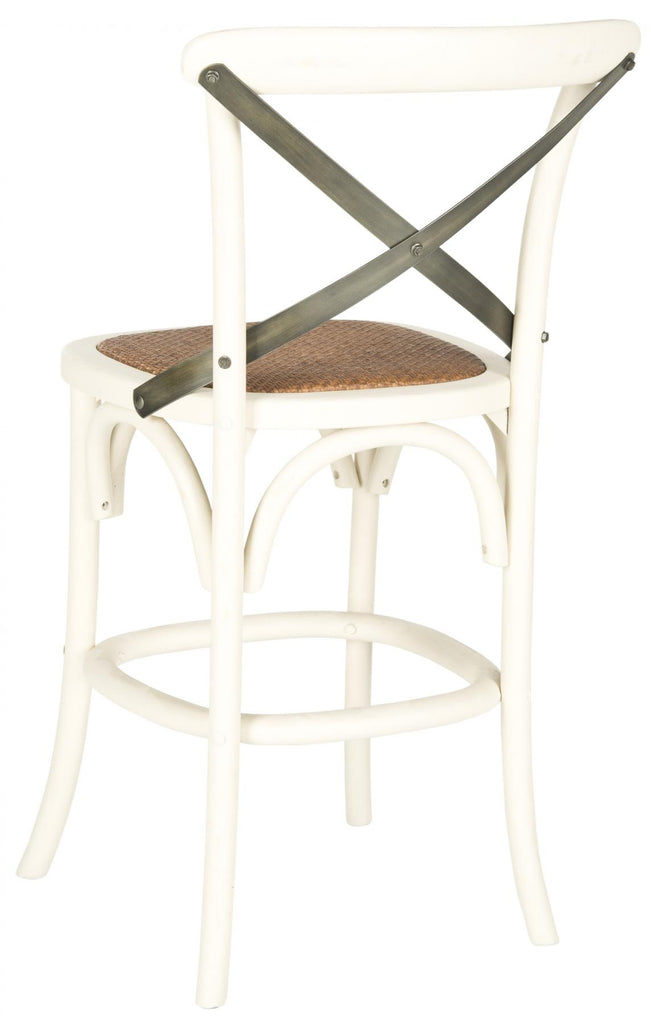 Safavieh Eleanr Counter Stool X Back Distressed Ivory Medium Brown Wood NC Coating Birch Rattan Foam Stainless Steel AMH9505A 683726453765