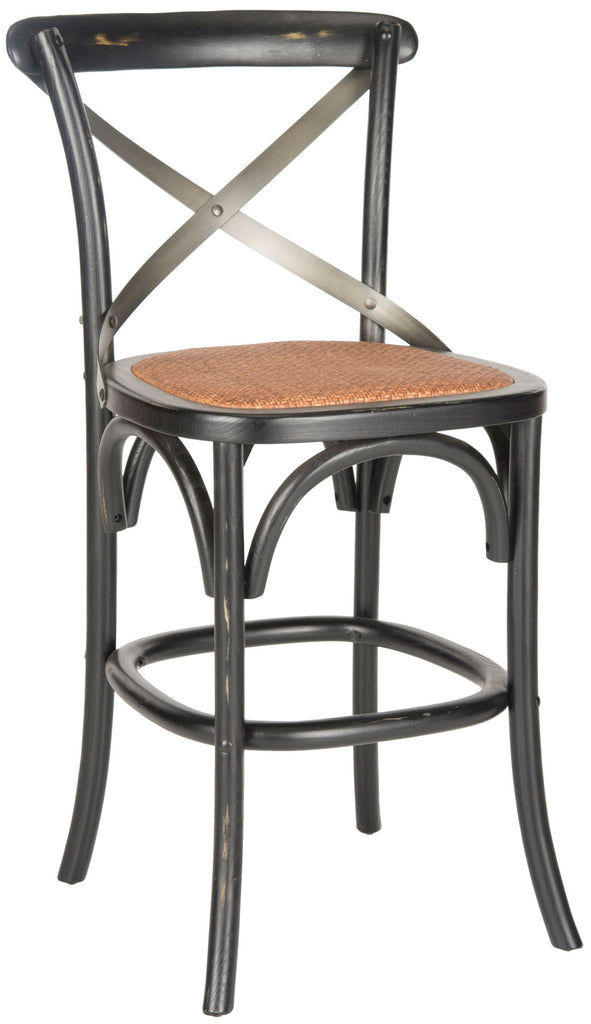 Safavieh Eleanr Counter Stool X Back Distressed Hickory Medium Brown Wood NC Coating Birch Rattan Foam Stainless Steel AMH9505B 683726453772