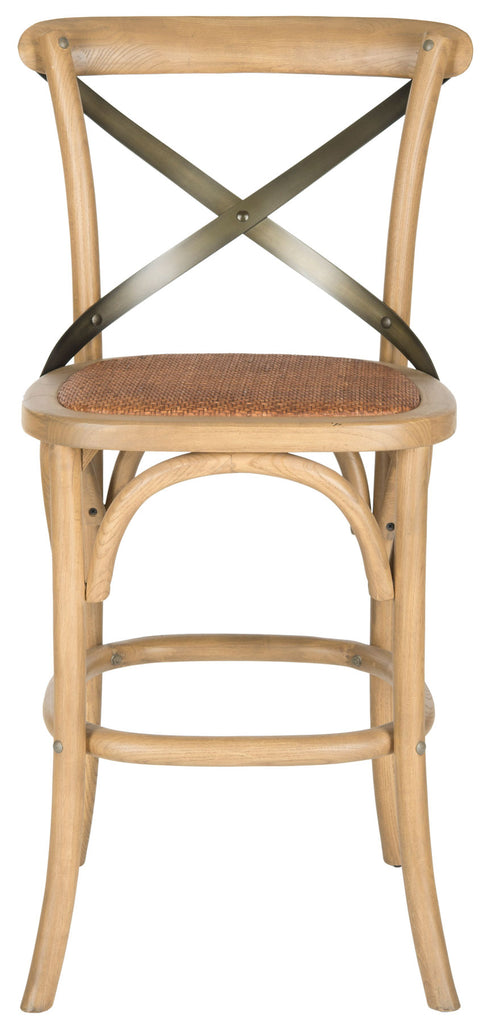 Safavieh Eleanr Counter Stool X Back Weathered Oak Medium Brown Wood NC Coating Rattan Foam Stainless Steel AMH9505C 683726453789