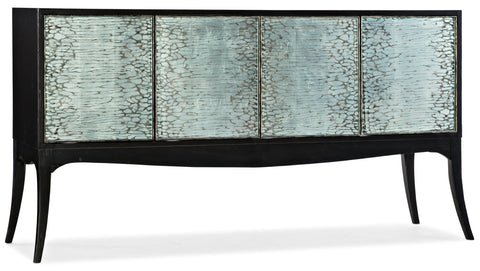Hooker Furniture Melange Transitional Elodie Four-Door Credenza in Poplar and Hardwood Solids with Oak Veneers, Glass, Silver Leaf and Handpainting 638-85497-99