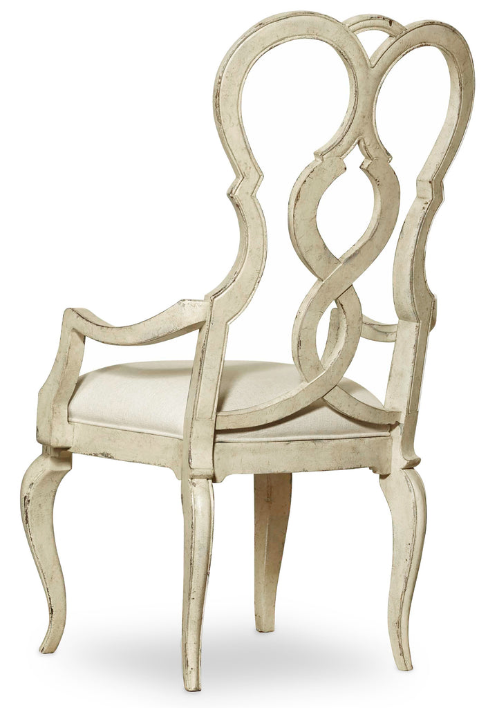 Hooker Furniture - Set of 2 - Auberose Traditional-Formal Upholstered Splatback Arm Chair in Rubberwood Solids and Fabric 1595-75300C-WH