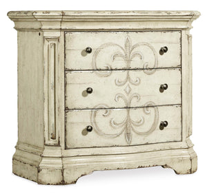Hooker Furniture Auberose Traditional-Formal Three-Drawer Nightstand in Poplar and Hardwood Solids with Cathedral and Quartered Hickory Veneers, Cedar and Hanpaint 1595-90016-WH