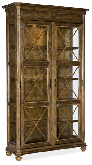 Hooker Furniture Ballantyne Traditional-Formal Display Cabinet in Alder Solids and Alder Veneers with Seeded Glass 5840-75906-80