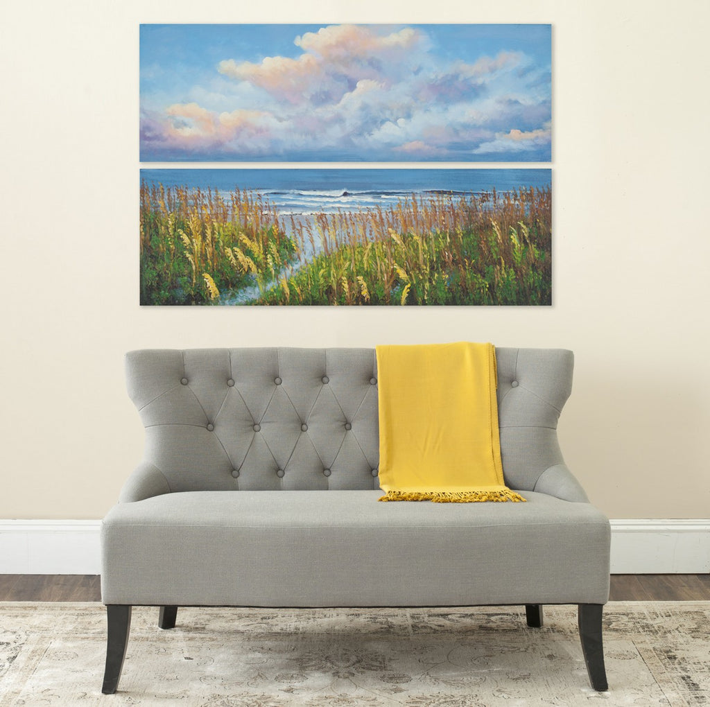Safavieh Beach Walk Wall Art Diptych Assorted and Natural Acrylic Abies Fabric Canvas ART2031A 683726432043