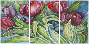 Safavieh Nouveau Tulips Wall Art Triptych Assorted and Natural Acrylic Abies Fabric Canvas ART2038A 683726432531
