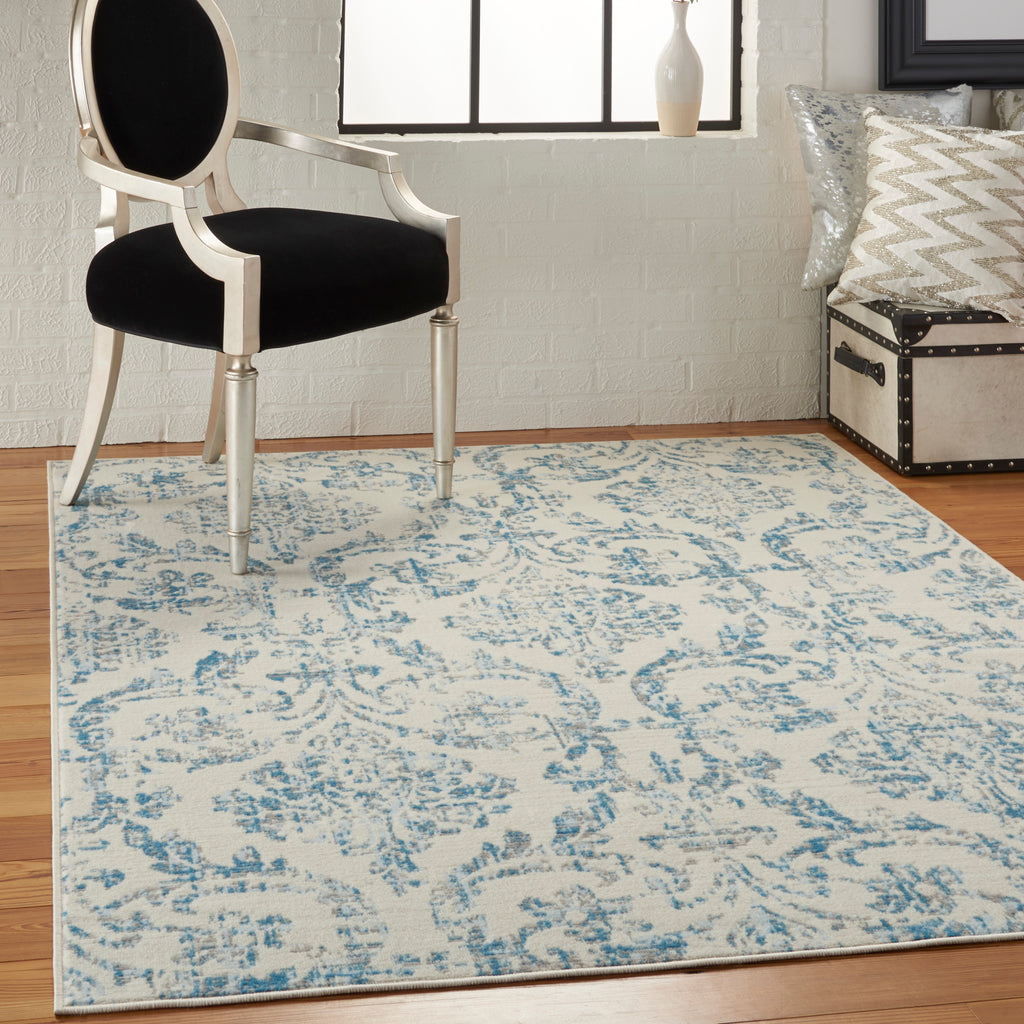 Jubilant JUB09 Power Loomed 100% Polypropylene Ivory/Blue 4' x 6' Rectangle Rug