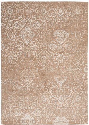 "Damask DAS06 Power-loomed 83% Polyester, 14% Cotton, 3% Rayon Beige Ivory 3'6"" x 5'6"" Rectangle Rug"