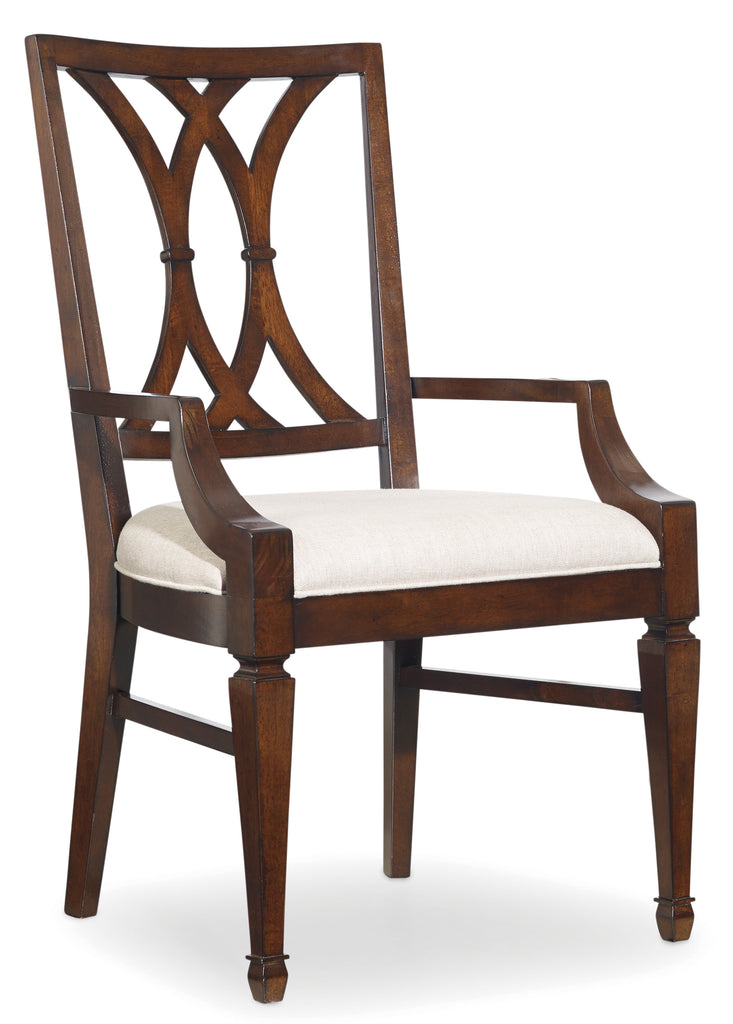 Hooker Furniture - Set of 2 - Palisade Transitional Splat Back Arm Chair in Hardwood solids and walnut veneers 5183-75300