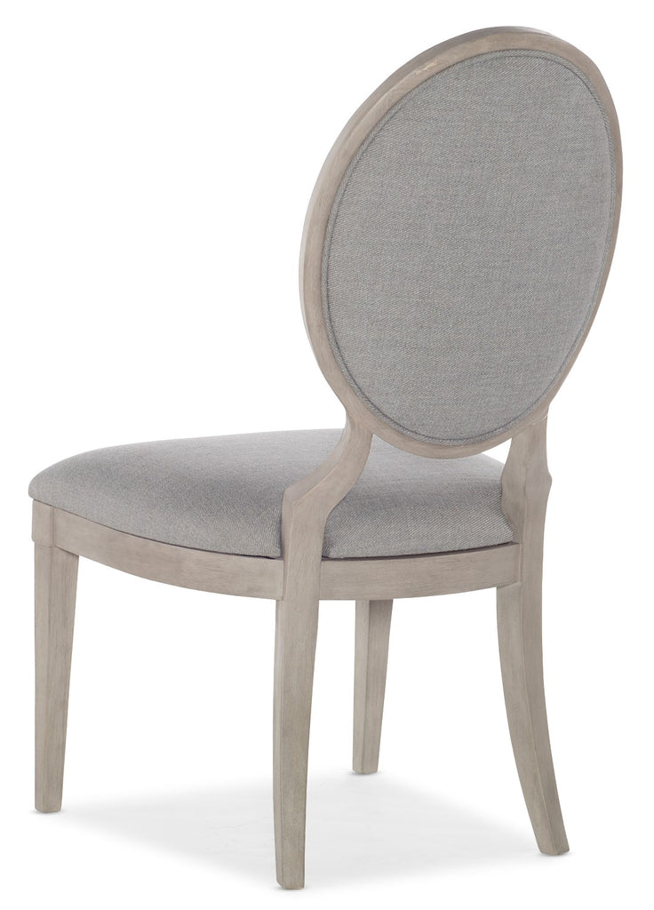 Hooker Furniture - Set of 2 - Reverie Transitional Tufted Side Chair in Rubberwood Solids with Twill Platinum Fabric 5795-75410-95
