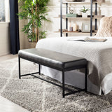 Safavieh Chase Faux Leather Bench Grey Black BCH6204B 889048651159