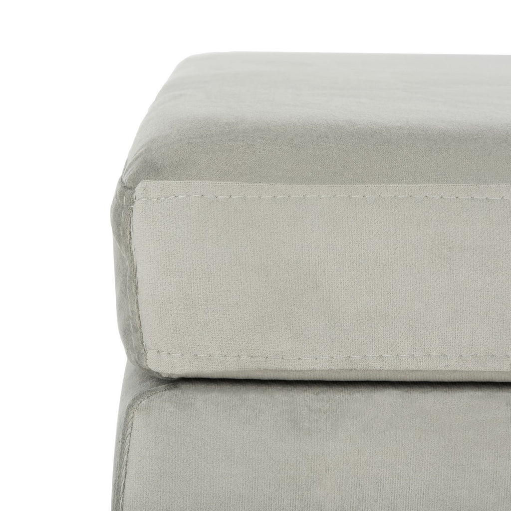 Safavieh Giovanna Bench Square Grey Brass Metal Foam Velvet BCH6301B 889048494695