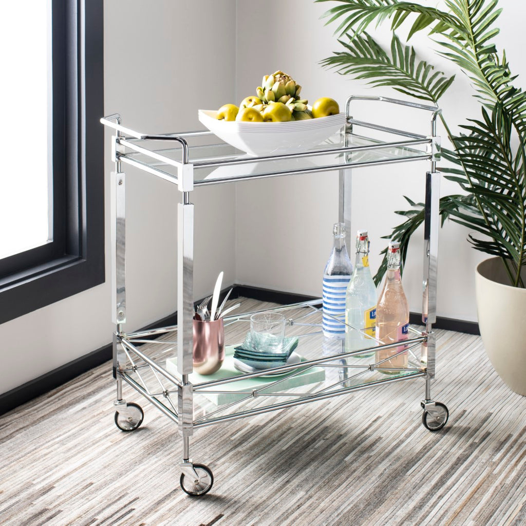 Safavieh Ingrid 2 Tier Bar Cart Chrome / Glass Metal / Glass BCT8000A 889048231122