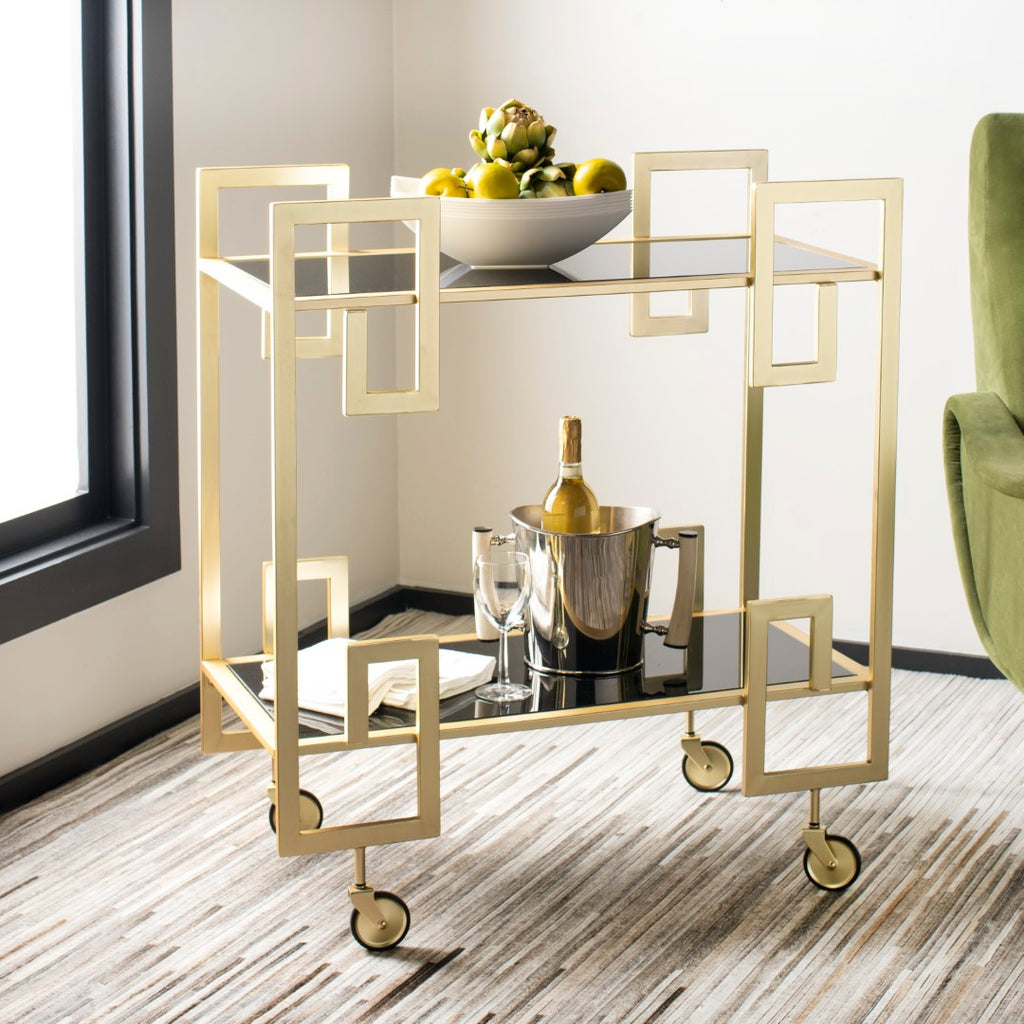 Safavieh Eliza 2 Tier Bar Cart Brass / Glass Metal / Glass BCT8005A 889048587960