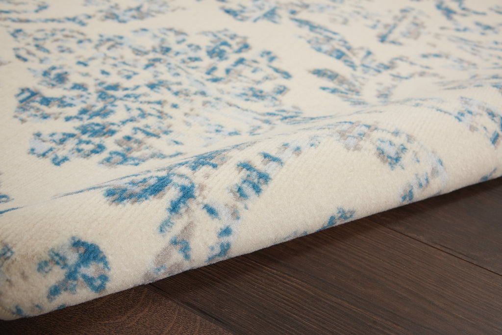 Jubilant JUB09 Power Loomed 100% Polypropylene Ivory/Blue 6' x 9' Rectangle Rug