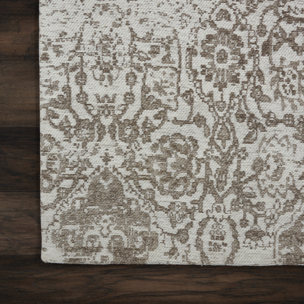 "Damask DAS06 Power Loomed 83% Polyester, 14% Cotton, 3% Rayon Ivory 2'3"" x 7'6"" Runner Rug"