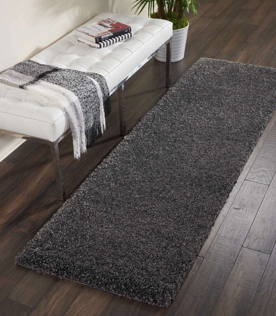 "Malibu Shag MSG01 Power Loomed 100% Polypropylene Dark Grey 2'2"" x 9'10"" Runner Rug"