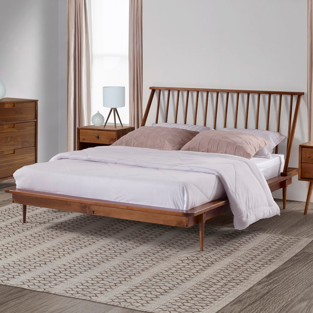 Picture of: Modern Queen Spindle Bed English Elm