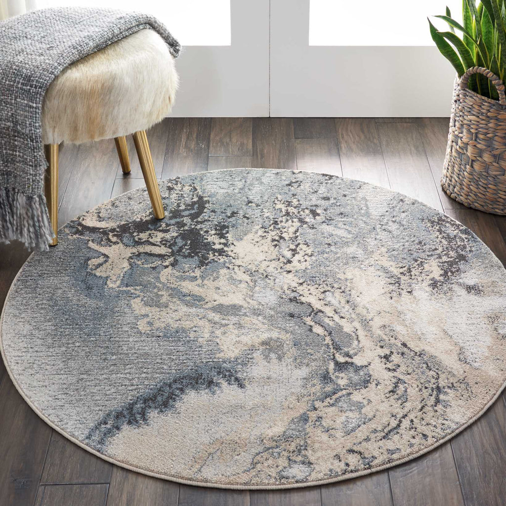 "Maxell MAE08 Power Loomed 100% Polyester Grey 3'10"" x Round Round Rug"