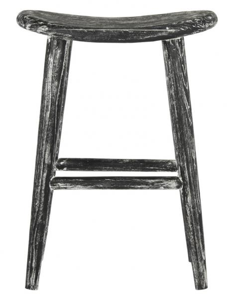 Safavieh Colton Counter Stool Wood Black White Water Based Paint Sungkai BST1000A 889048272125