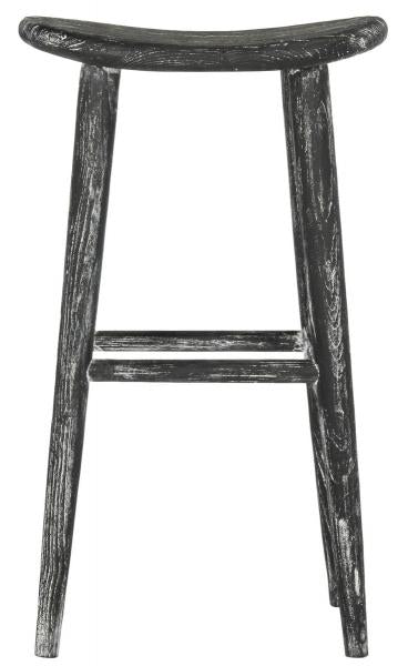 Safavieh Colton Bar Stool Wood Black White Water Based Paint Sungkai BST1001A 889048272132
