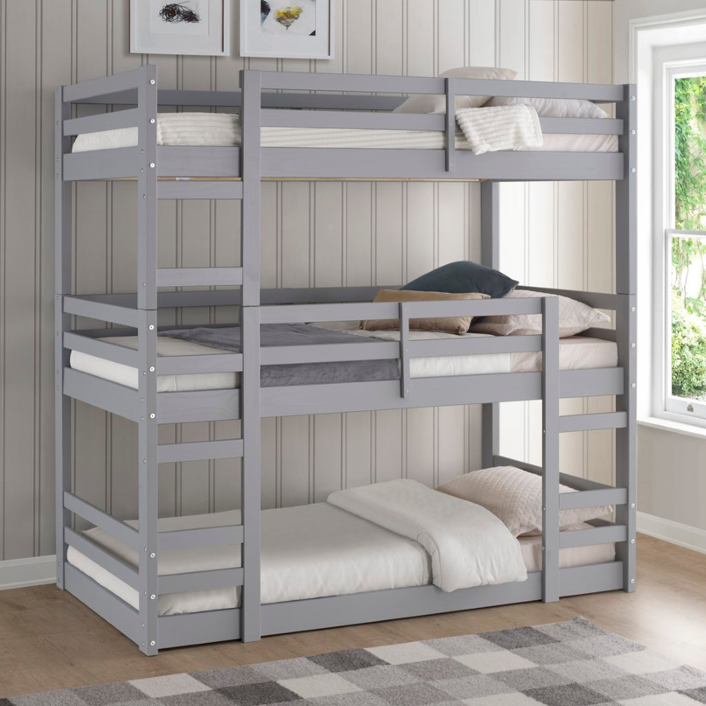 Picture of: Solid Wood Triple Bunk Bed English Elm