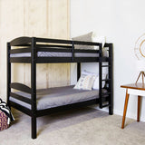 Walker Edison Solid Wood Twin over Twin Bunk Bed - Black in Solid Wood BWSTOTBL 814055029516