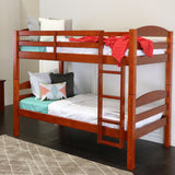 Walker Edison Solid Wood Twin over Twin Bunk Bed - Cherry in Solid Wood BWSTOTCH 812492011361