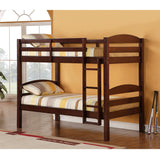 Walker Edison Solid Wood Twin over Twin Bunk Bed - Espresso in Solid Wood BWSTOTES 812492011354