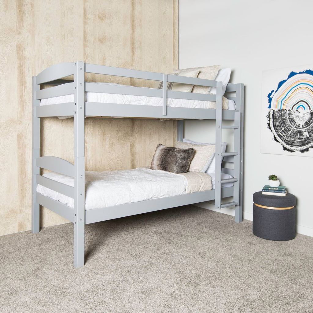 Walker Edison Solid Wood Twin over Twin Bunk Bed - Grey in Solid Wood BWSTOTGY 814055029523