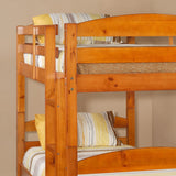 Walker Edison Solid Wood Twin over Twin Bunk Bed - Honey in Solid Wood BWSTOTHY 812492012900