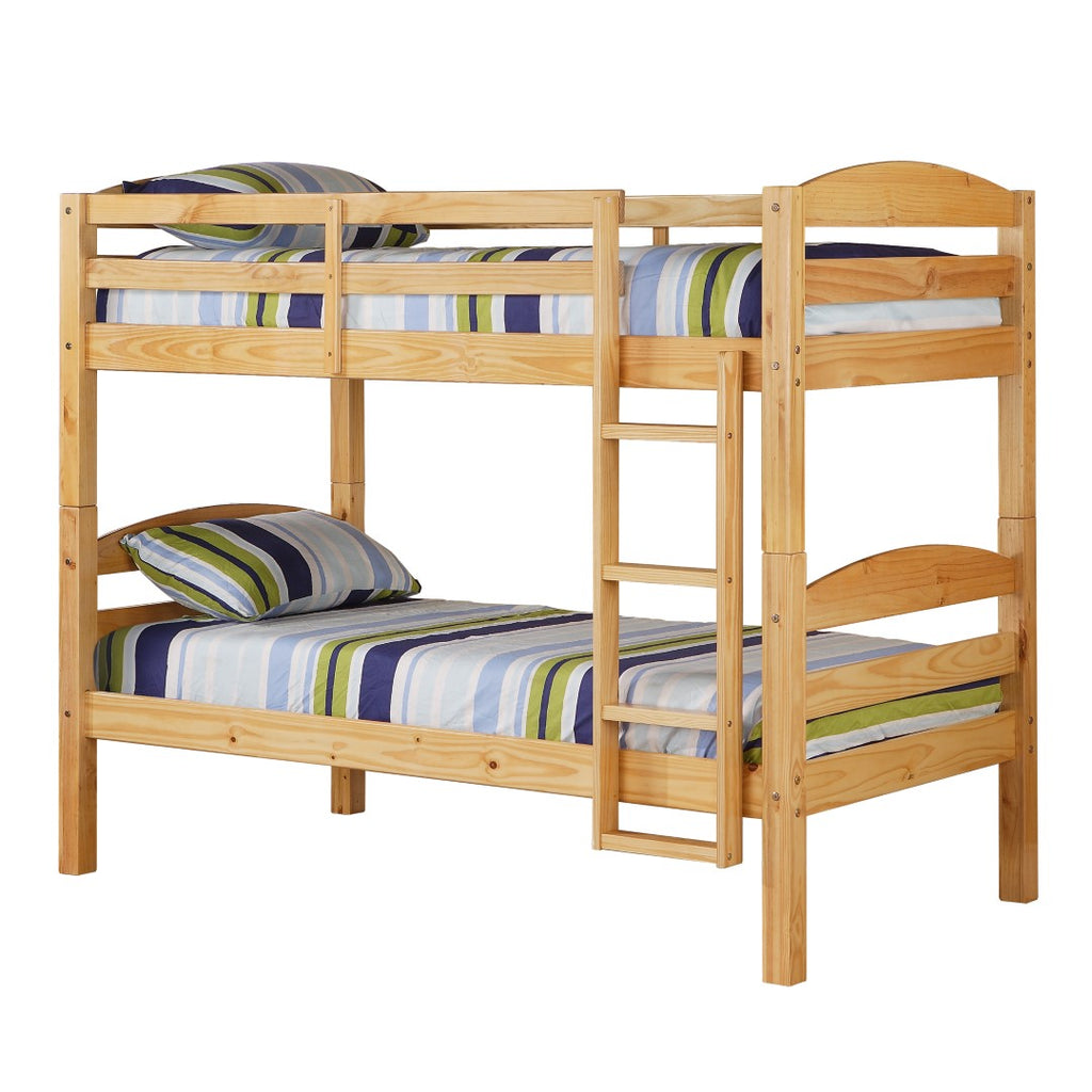 Walker Edison Solid Wood Twin over Twin Bunk Bed - Natural in Solid Wood BWSTOTNL 812492012917